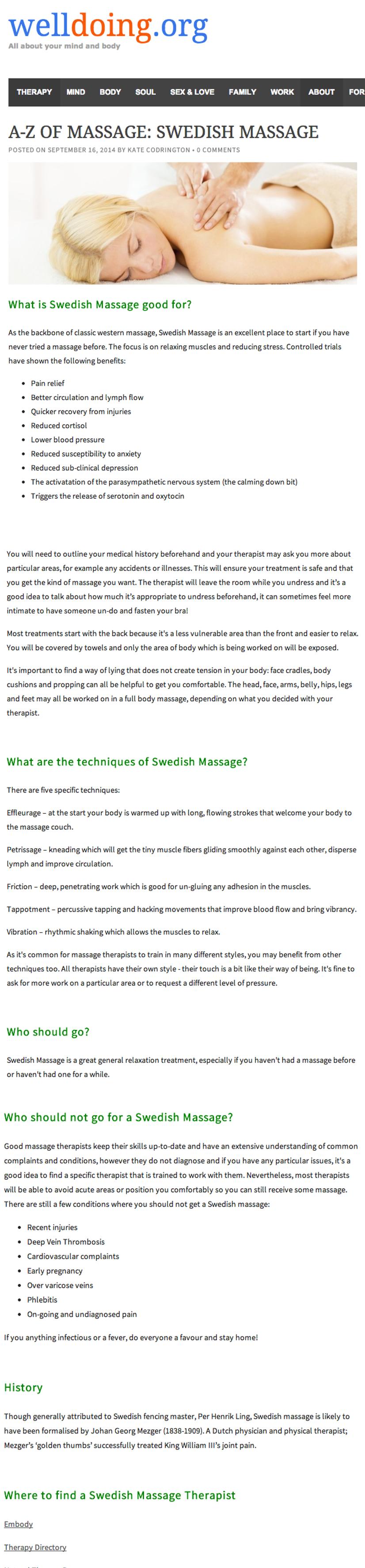 A-Z of Massage - Swedish Massage
