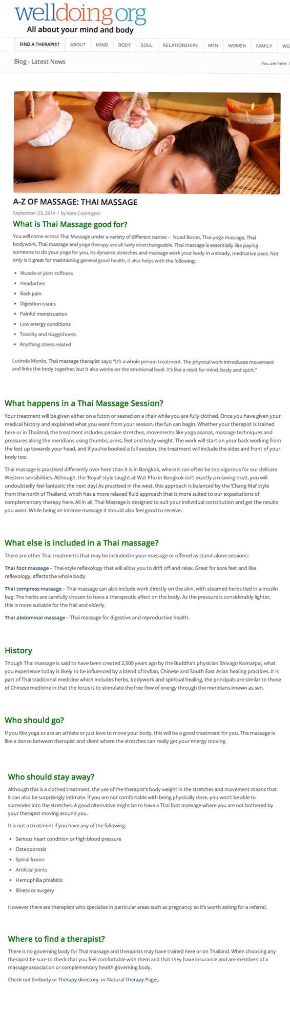 A-Z of Massage - Thai Massage