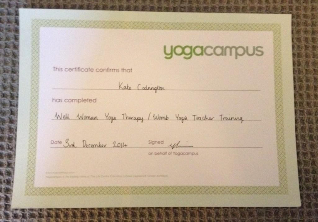 womb yoga certificate